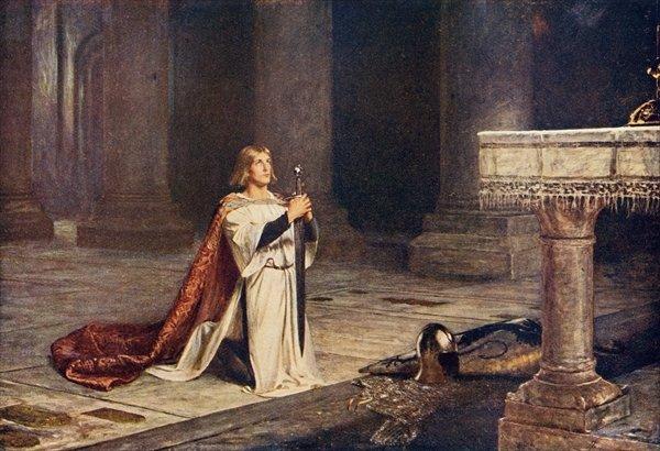 Chevalier-à-genoux-épée-autel